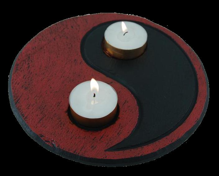 yin yang red black tealight holder