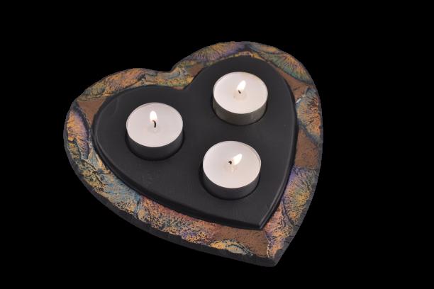 Slate heart shaped tealight holder