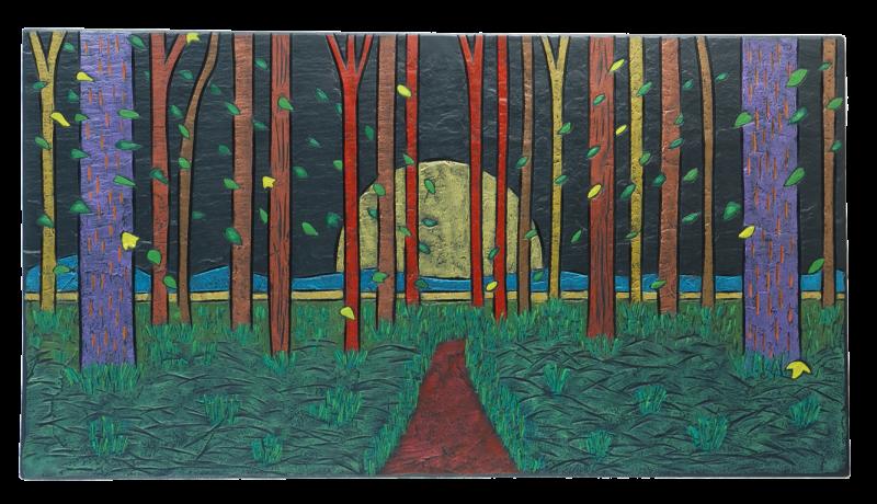 woodland scene sun on slate.