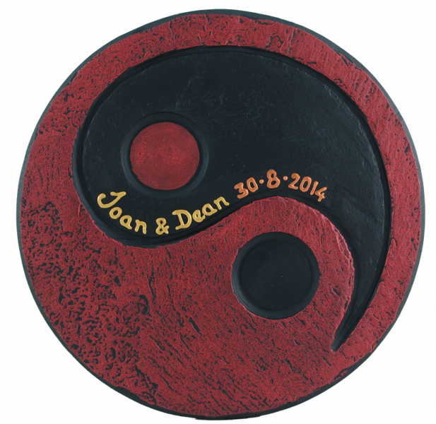 yin yang red black tealight holder with inscription