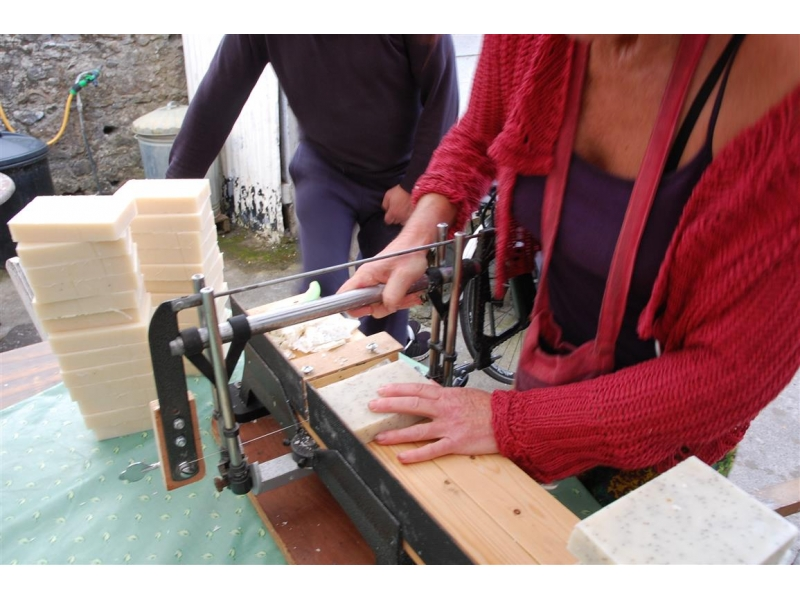 Cutting Natural Handmade Soap