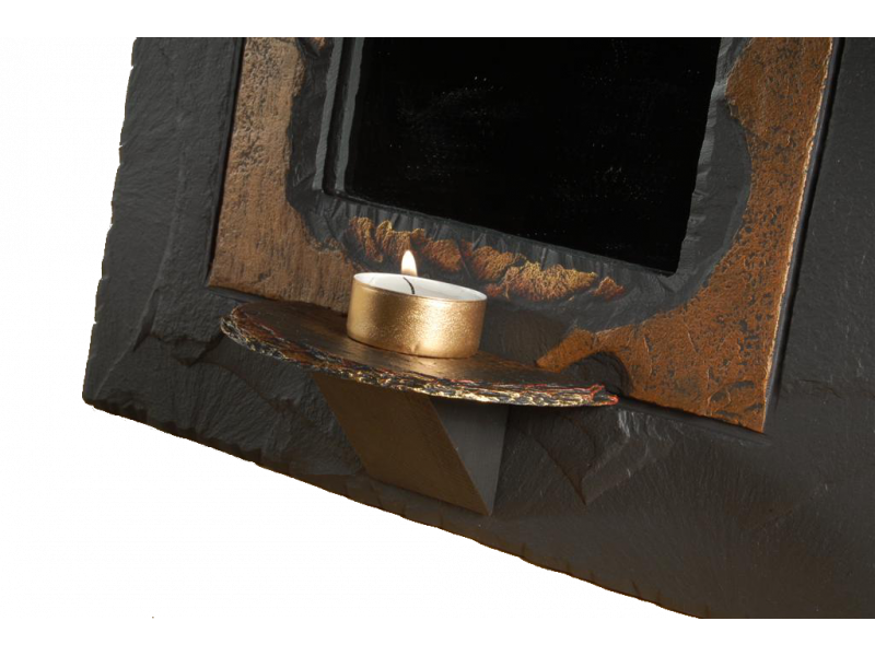 slate mirror with tealight holder