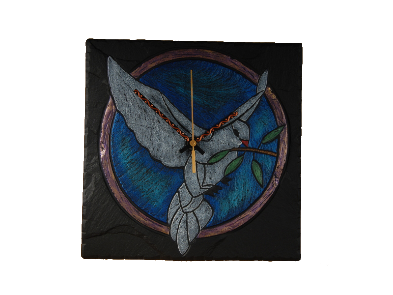 slate clock dove of peace