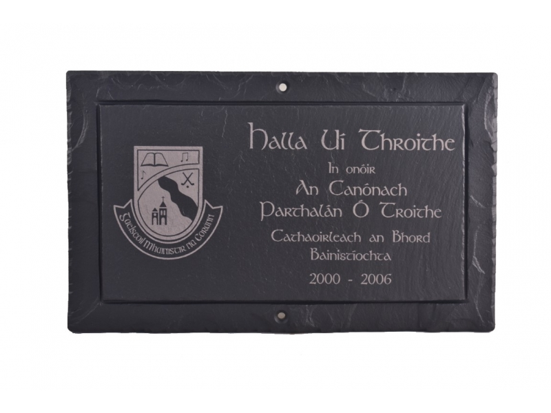 slate presentation plaque with logo