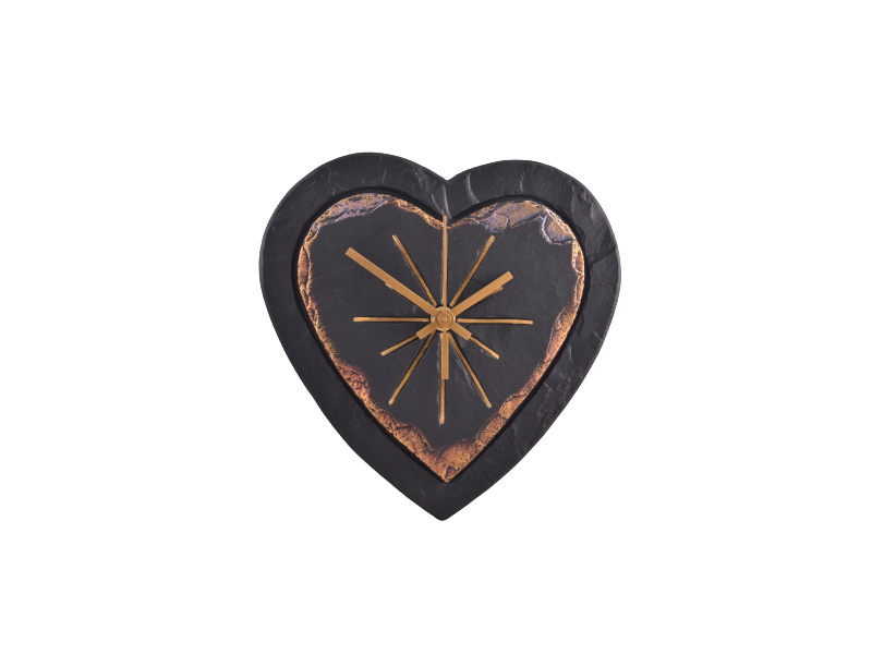 Heart-shaped slate clock