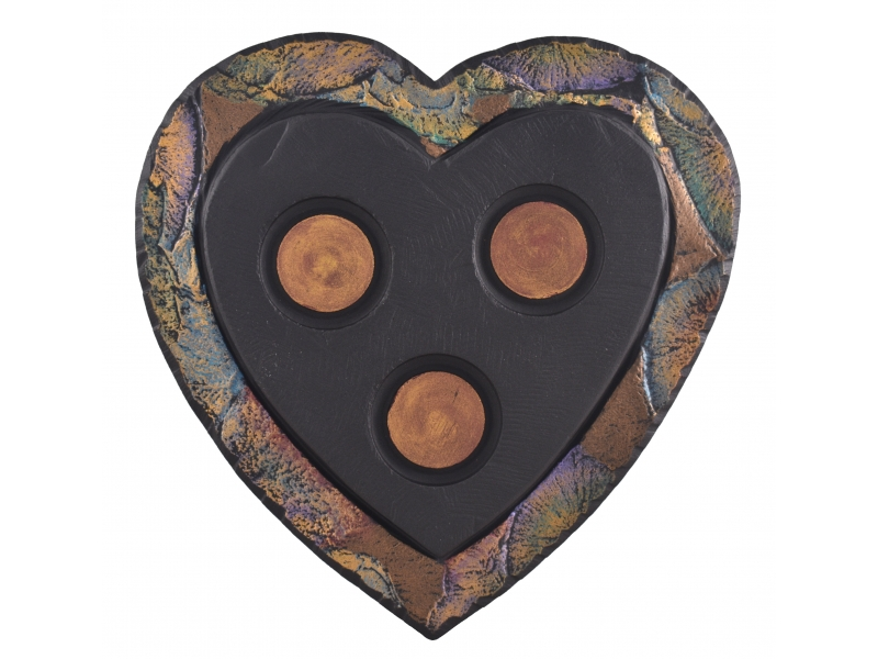 slate heart-shaped tealight holder