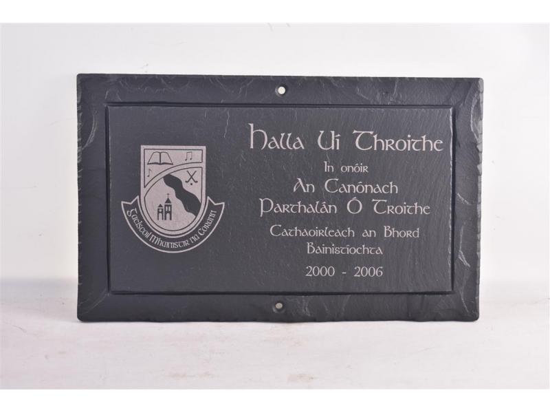 inscriptions in Irish on Slate