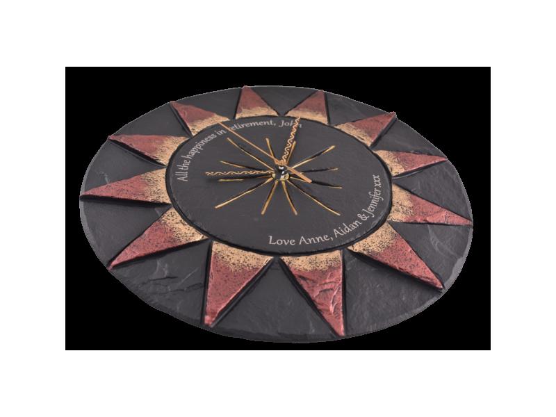 inscritpion laser printed on slate clock