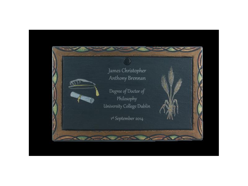 laser inscribed plaque on slate