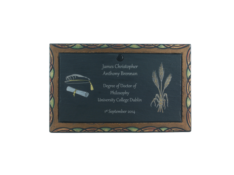 laser inscribed plaque as graduation gift