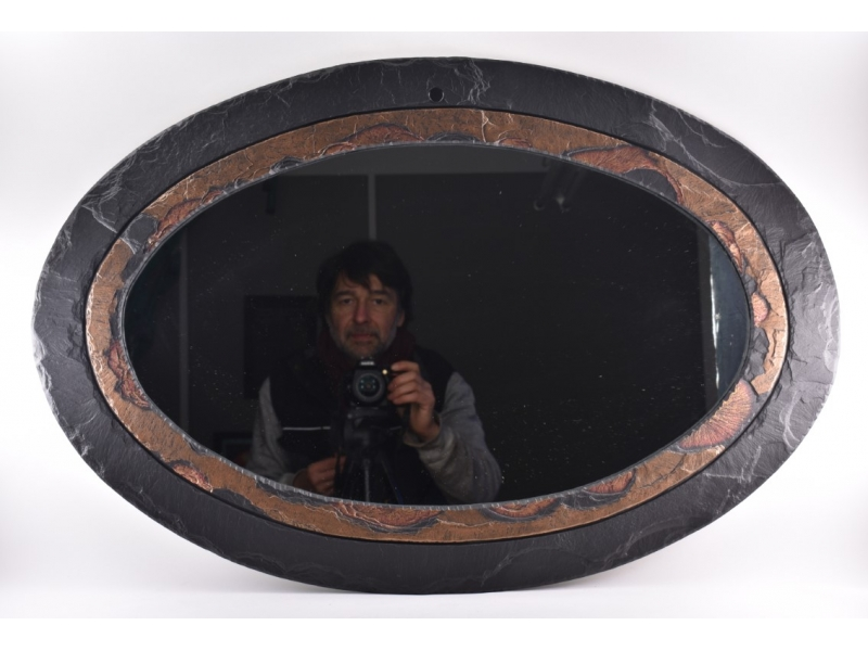 handcrafted oval slate mirror