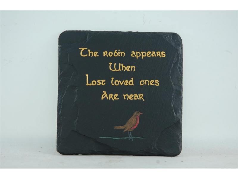 Robin and message on slate