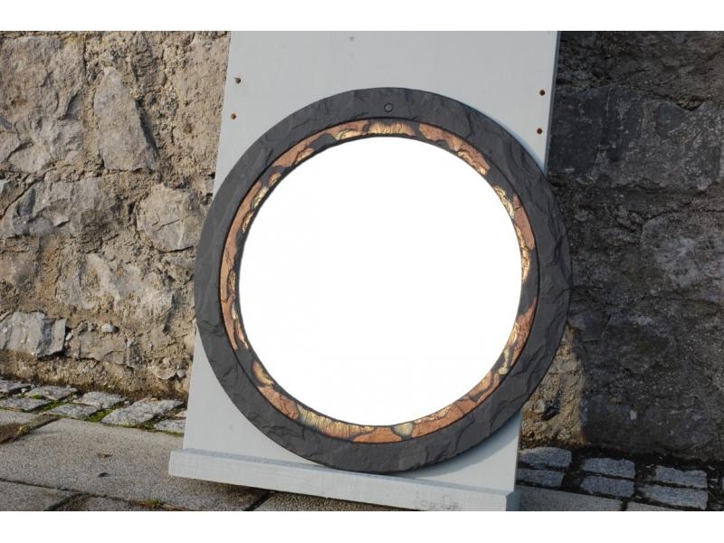 Slate round mirror
