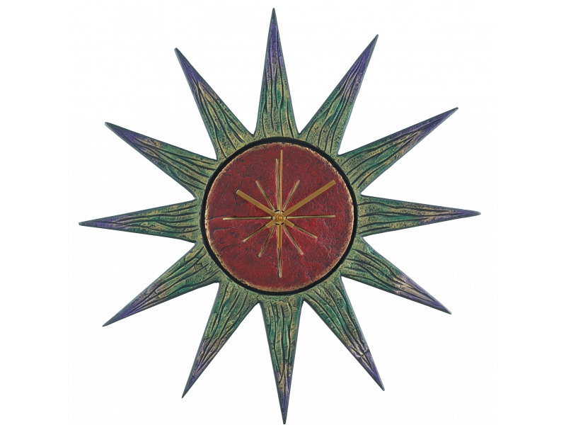 sun-clock-red-face-greenish-rays