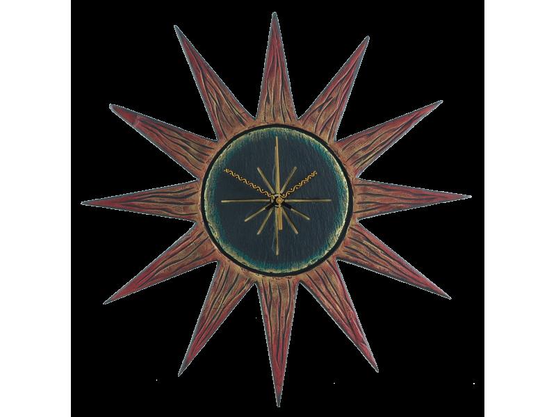 sun-clock-red-rays-black-gren-face-2