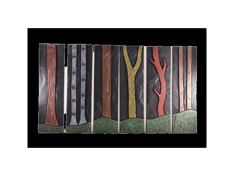 Tree trunks hand painted on Slate
