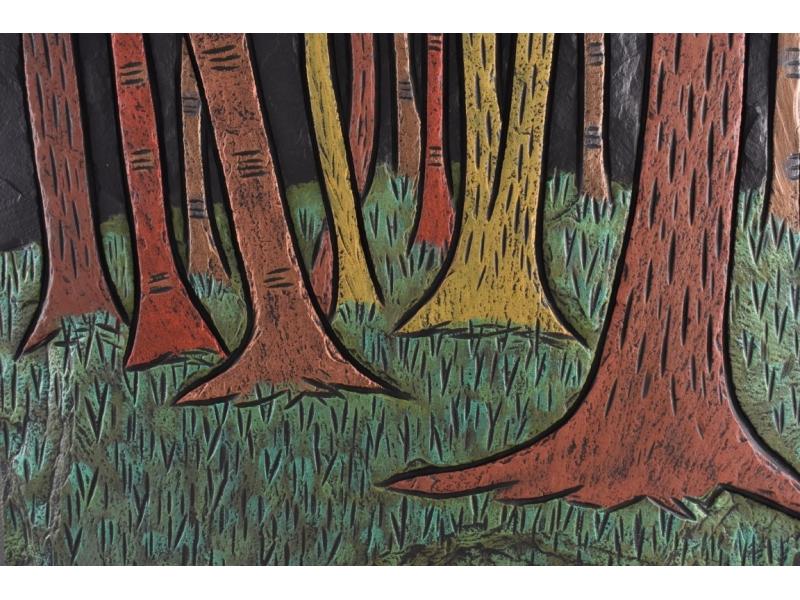 Woodland scene on slate