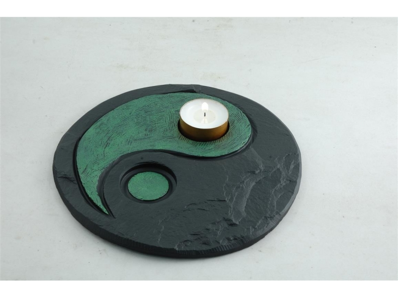 Yin Yang Slate Tealight Holder