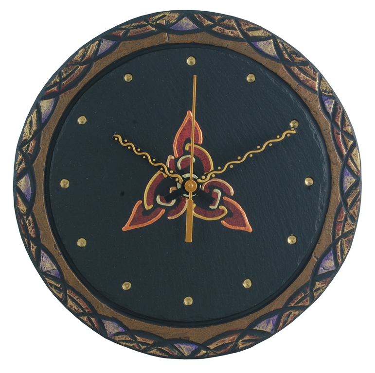 round slate clock with celtic trinity black inside
