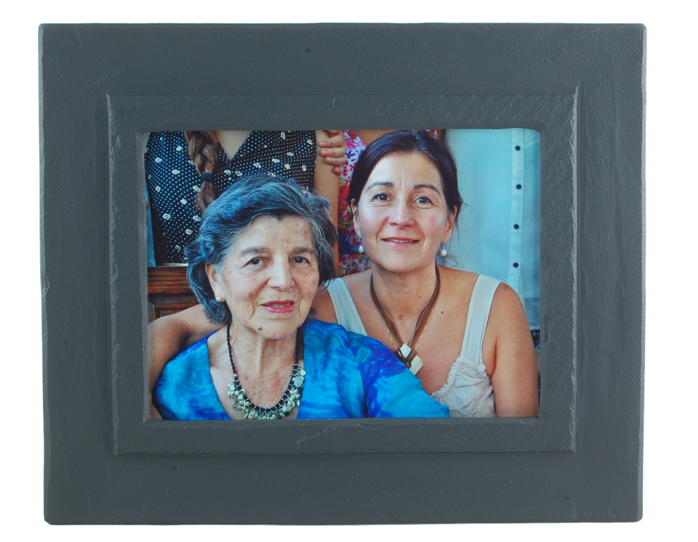 slate photo frame black band