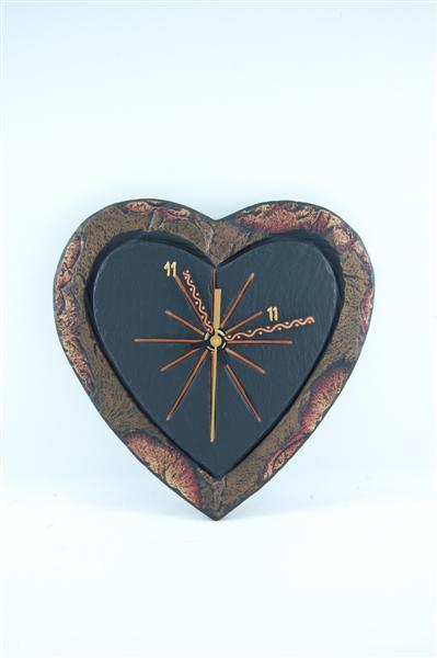 slate heart-shaped clock personalised