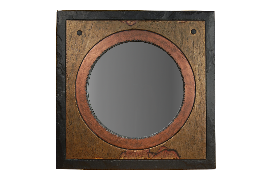 Round mirror in square frame a for Square mirror
